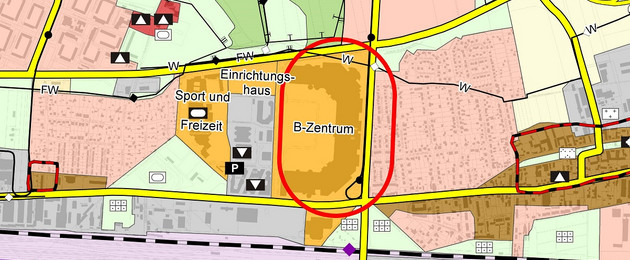The picture shows a map section of the land use plan. You can see the Paunsdorf Center with its surroundings. The B-Center ist marked with a red circle.