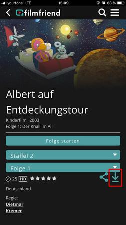 Bildschirmfoto einer Kinderserie mit den Auswahlmöglichkeiten zum Abspielen oder zum Download