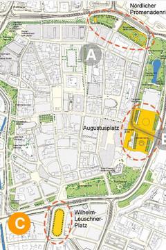 Bild wird vergrößert: Karte mit möglichen Standorten des Leipziger Freiheits- und Einheitsdenkmals am Leipziger Innenstadtring