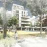 Modellzeichnung. Blick auf einen öffentlichen Raum mit Bäumen und Gebäuden im Hintergrund