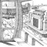 Skizze Bahnhofsvorplatz mit Blick auf Bahnhof aus der Seilbahn