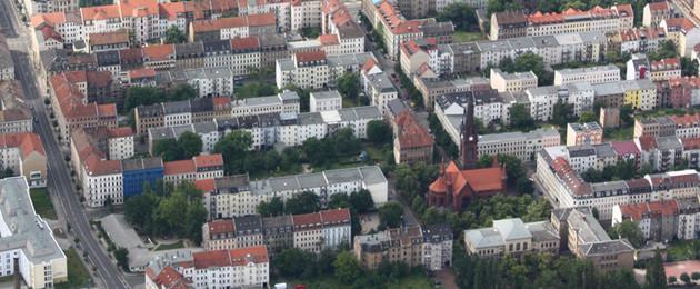 Luftbildaufnahme des Neustädter Marktes