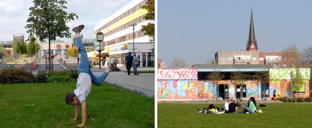 Blick in die Stuttgarter Allee in Grünau und in den Park Rabet im Leipziger Osten