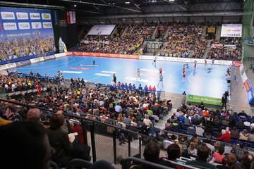 Bild wird vergrößert: Turnhalle bei einem Handballspiel in der ARENA Leipzig