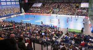 Turnhalle bei einem Handballspiel in der ARENA Leipzig