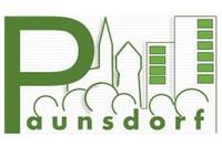 Grafik mit Schriftzug Paunsdorf, mit stilisierten Bäumen und Gebäuden
