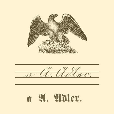 """Übungstafel einer deutschen Fibel von 1886 mit Motiv Adler, sowie kleinem und großem Buchstaben """"A"""" in Schreib- und Druckschrift."""