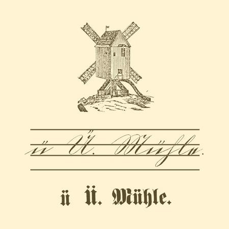 """Übungstafel einer deutschen Fibel von 1886 mit Motiv Mühle, sowie kleinem und großem Buchstaben """"Ü"""" in Schreib- und Druckschrift."""