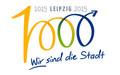 Logo 1000 Jahre Leipzig mit einer 1000 als Grafik und Schrift: 1015 2015 Leipzig Wir sind die Stadt.