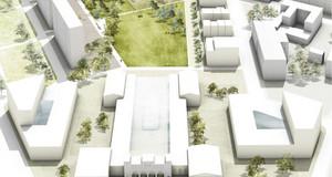 Umfeld neuen Stadtraums am Bayerischen Bahnhof im Modell (Visualisierung)