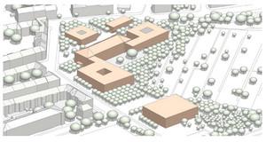 Grobe Planung der künftigen Gebäude, die zur Quartiersschule gehören sollen