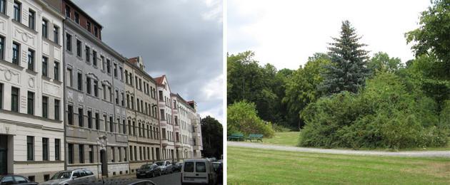 Collage einer Häuserzeile neben einer Parkanlage in Stötteritz.