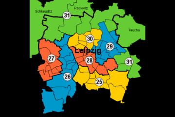 Bild wird vergrößert: Farbige Grafik der Leipziger Landtagswahlkreise 2004