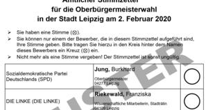 Ausschnitt eines Musterstimmzettels zur Wahl des Leipziger Oberbürgermeisters am 2.2.2020 und 1.3.2020