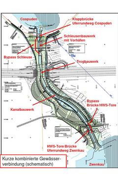 Bild wird vergrößert: Lageplan des in Bau befindlichen Harthkanals zwischen Cospudener und Zwenkauer See