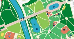 Karte des Clara-Zetkin-Parks. Die Flächen sind mit verschiedenen Grüntönen markiert, die für verschiede Nutzungsmöglichkeiten stehen. Weitere Markierungen stehen für Mülltonnen, Feuerstellen, WCs, Parkmöglichkeiten, Imbiss und Spielplätze.