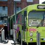 Ein grüner Bus, davor drei Menschen und ein Hund an einem kleinen Stehtisch
