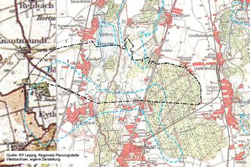 Bild wird vergrößert: Karte von 1938 der Neuen Harth südlich von Leipzig mit Bösdorf, Eythra und heutiger Verbandsgrenze