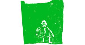 Auf grünem Hintergrund ist die Zeichnung eines Kindes zu sehen, welche eine schwangere Frau gemalt hat.