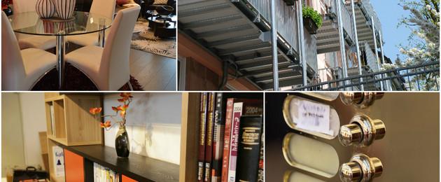 Collage mit Innenansichten von Wohnungen, Balkonen und Klingelschildern
