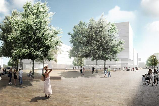 Entwurf für den Eutritzscher Freiladebahnhof: gepflasterter Platz mit Bäumen, Sitzflächen und vielen Menschen, im Hintergrund hohe Gebäude.