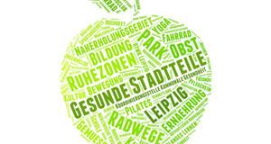 grüner Apfel gefüllt mit Worten mit Bezug zu gesunden Stadtteilen