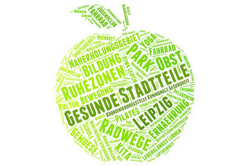 Bild wird vergrößert: grüner Apfel gefüllt mit Worten mit Bezug zu gesunden Stadtteilen