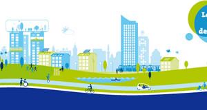 Grafik Leipzig weiter denken mit Häusern, verschiedenen Verkehrsmitteln und Menschen.