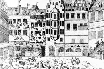 Bild wird vergrößert: Grafik zum so genannten Leipziger Calvinistensturm von 1593: Erstürmung eines Kaufmannshauses am Markt