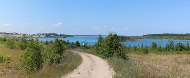 Panoramafoto des Zwenkauer Sees 2013 vom Ostufer aus
