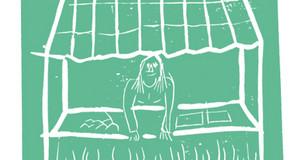 Auf grünem Hintergrund ist eine Kinderzeichnung zu sehen, bei der eine Person hinter einem Verkaufsstand steht.