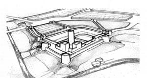 Rekonstruktionszeichnung der Leipziger Burg um 1015 nach archäologischen Grabungen durch Herbert Küas.