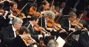 Streichersektion des Gewandhausorchesters