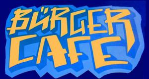 Logo Bürger Cafe mit gelben Schriftzug Bürger Cafe auf blauem Grund