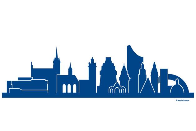 Links markante oder prägende Gebäude von Bruenn, rechts von Leipzig
