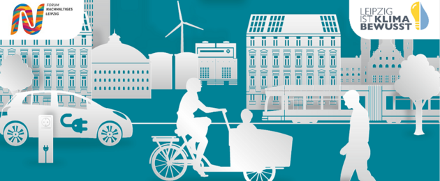 Illustration einer Leipziger Straße mit einem Elektroauto an einer Ladestation, einer Frau mit Lastenfahrrad, einer Straßenbahn, einem Fußgänger. Im Hintergrund ein Windrad
