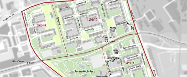 Stadtplan von Grünau, in dem Grünau-Ost gekennzeichnet ist