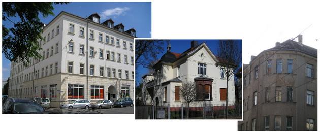Drei Hausfassaden in einer Collage