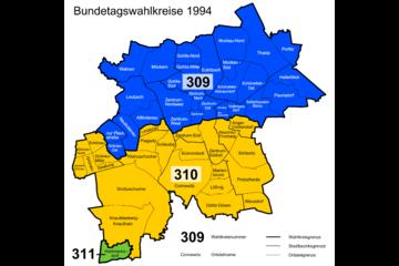 Bild wird vergrößert: Karte mit den Wahlkreisen in der Stadt Leipzig zur Bundestagswahl 1994.