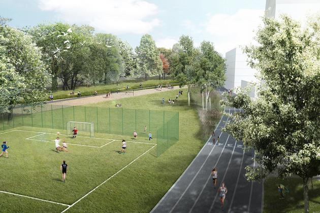 Entwurf für den Eutritzscher Freiladebahnhof, auf dem ein Fußballfeld mit Spielerinnen zu sehen ist, daneben eine Tartanbahn zum Laufen und ein Beachvolleyballplatz