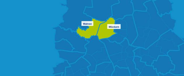 Karte mit den Umrissen der Leipziger Ortsteile. Hervorgehoben sind Wahren und Möckern.