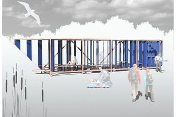 Bild wird vergrößert: Darstellung der möglichen Gestalt des Rastplatzes in Anlehnung an die gesprengte Förderbrücke Zwenkauer See mit Längsstreben und Besuchern