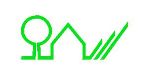 grüne Linie zeichnet stilisiert einen Baum und ein Haus