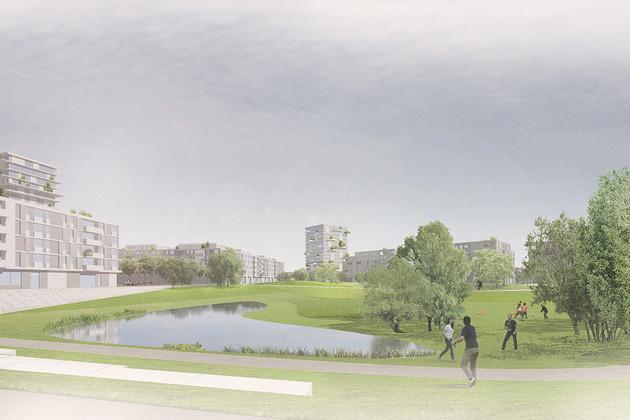 Entwurf mit Grünfläche, Bäumen und Teich. Im Hintergrund unterschiedlich hohe Gebäude