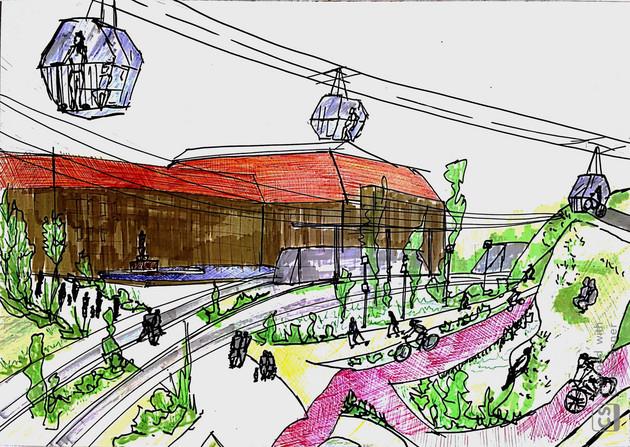 Skizze Bahnhofsvorplatz mit Seilbahn