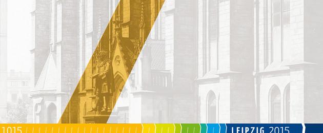 Plakatmotiv des Projekts Stadtgeschichte zur Langen Nacht der Wissenschaften 2014: Leibniz-Denkmal vor Thomaskirche um 1890