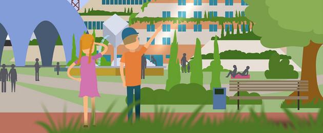 Animation mit zwei Kindern, die auf einen Park und Häuser dahinter schauen