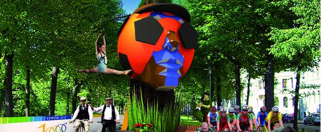 Visualisierung einer überlebensgroßen Skulptur zum StadtFestSpiel in einer Allee mit Menschen