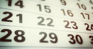 Kalenderblatt mit Tageszahlen