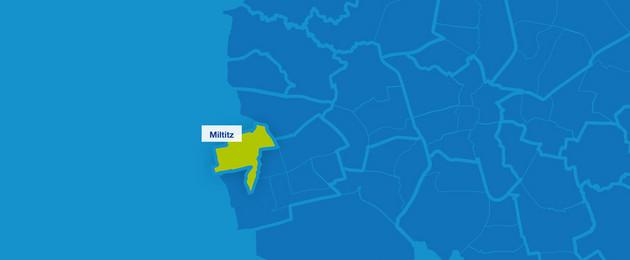 Karte mit den Umrissen der Leipziger Ortsteile im Westen. Miltitz ist hervorgehoben.
